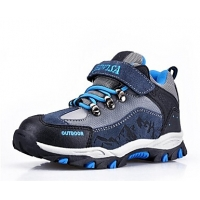 Boy`s Comfort Flat Heel Leather Fashion Sneaker with Magic Tape and Add Fluff Shoes(More Colors)