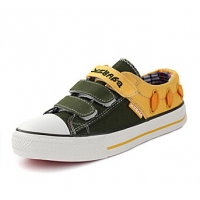 Comfort Color-Mix Flat Heel Leather Fashion Sneakers with Magic Tape Chirldren's Shoes(More Colors)