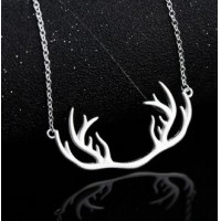 Japan and South Korea style birthday or Christmas gifts of silver Antlers necklace sweater chain Collarbone silver short chain accessories