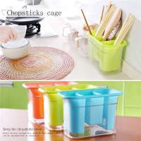 Creative Double - Layer Plastic Tableware Storage Box Chopsticks Drainage Rack Dust - Proof Chopsticks Cage - Blue