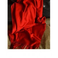 Large red scarf lengthened widening shawl fringed basic scarf scarlet scarlet shawl