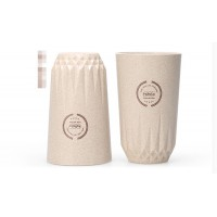 FASOLA green wheat fiber lid handy cup for men and women home straight body cup cups mini simple accompanying students