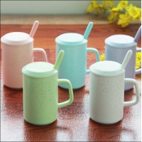 Simple coffee mug ceramic cup large capacity retro milk creative couple cups office cup with lid spoon