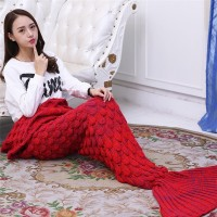 Fish Scale Pattern Mermaid Tail Blanket Sofa Blanket Knitting Warm Soft for Adults and Kids