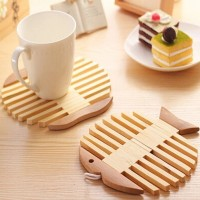 Bamboo Tablemat Fish Shape Heat Pot Placemats Holder Resistant Insulation Pad 5 Pcs