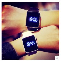 Korean version of the male and female high school students simple fashion creative touch square section led Luminous LED electronic watches