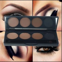 High quality professional 4 color eye brow makeup waterproof eyebrow powder eye shadow palette double end brush