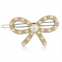 Pearl diamond bowknot hairpin