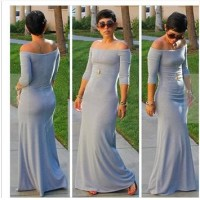 Sexy women's long dress grey dress