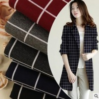 Autumn and winter coat fabric Grid jacquard cloth stretch twill knitting yarn-dyed Rome ..