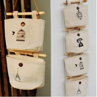 Receive chest wall hanging bags at home Cotton and linen cloth hanging bags Household bedside receive bag