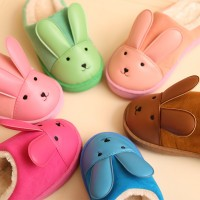 Le drag in autumn and winter the new children's cartoon baby girl home male lovely children warm ginned cotton slippers