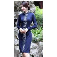 2016 autumn long cheongsam knitting wool ethical wind cheongsam fall and winter
