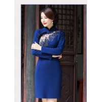 In 2016, the new women's cheongsam In the collar long XieJin