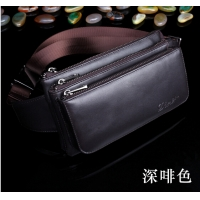 New leather purse bag zipper copper leather shoulder bag leather messenger bag chest bag man