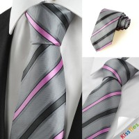 New Striped Pink Grey Novelty Men's Tie Necktie Wedding Party Holiday Gift