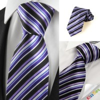 New Striped Purple Blue Black Men's Tie Necktie Wedding Party Holiday Gift