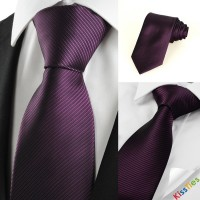 New Striped Plum Purple Men's Tie Formal Suit Necktie Wedding Holiday Gift