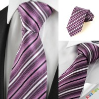 New Striped Purple JACQUARD Men's Tie Necktie Wedding Party Holiday Gift