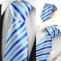 Luxury Striped Royal Blue JACQUARD Men's Tie Necktie Wedding Holiday Gift