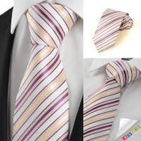 New Purple Yellow Striped Men's Tie Necktie Wedding Party Holiday Gift