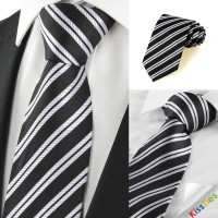 New Striped Grey Black Formal Men's Tie Necktie Wedding Party Holiday Gift