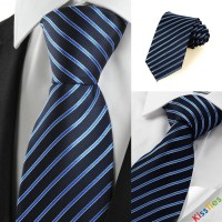 New Striped Blue Formal Business Men's Tie Necktie Wedding Holiday Gift