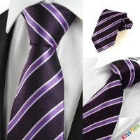 New Striped Purple Black Formal Men Tie Necktie Wedding Party Holiday Gift