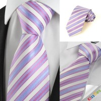 New Classic Pink Blue Striped Men's Tie Necktie Wedding Party Holiday Gift