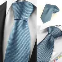 Striped Teal Blue Men's Tie Formal Business Necktie Wedding Holiday Gift