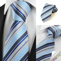 New Striped Grey Blue JACQUARD Mens Tie Necktie Wedding Party Holiday Gift