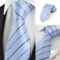 New Striped Blue JACQUARD Men's Tie Necktie Wedding Party Holiday Gift