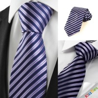 New Striped Violet Black Formal Men Tie Necktie Wedding Party Holiday Gift