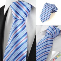 New Striped Pink Blue JACQUARD Mens Tie Necktie Wedding Party Holiday Gift