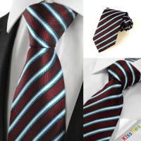 New Blue Striped Plum JACQUARD Mens Tie Necktie Wedding Party Holiday Gift