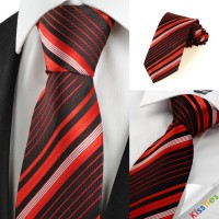 New Striped Red Black JACQUARD Mens Tie Necktie Wedding Party Holiday Gift