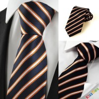 Luxury Silver Striped Black Formal Men's Tie Necktie Wedding Holiday Gift