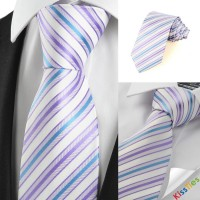 New Striped Blue Lavender Purple Mens Tie Necktie Wedding Party Groom Gift