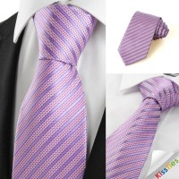 New Striped Lavender JACQUARD Mens Tie Formal Necktie Wedding Holiday Gift