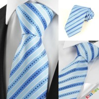 Classic Striped Baby Blue JACQUARD Men's Tie Necktie Wedding Holiday Gift
