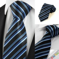 Striped Blue Black Formal Business Men's Tie Necktie Wedding Holiday Gift