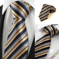 New Striped Golden Black JACQUARD Business Men's Tie Necktie Holiday Gift