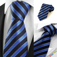 New Striped Blue Black JACQUARD Men Tie Necktie Wedding Party Holiday Gift