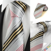 New Striped Golden Red Grey Business Formal Men's Tie Necktie Holiday Gift