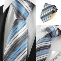 New Striped Blue Grey Classic Men's Tie Necktie Wedding Party Holiday Gift
