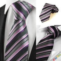 New Striped Purple Grey Classic Men's Tie Necktie Wedding Holiday Gift