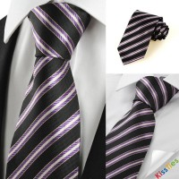 New Striped Purple Black JACQUARD Men's Tie Necktie Wedding Holiday Gift