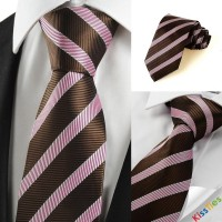 New Striped Pink Brown Classic Luxiry Men Tie Necktie Wedding Holiday Gift