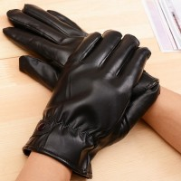 Woman's Black PU Leather Gloves Solid Color Full Finger Mittens Winter Autumn Outdoor Warm Accessories Favors GL101