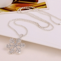 10pcs/lot Girls Crystals Necklace With Snowflake Pendant Neck Chain Jewelry Party Necklet Sweater Chain jbc612